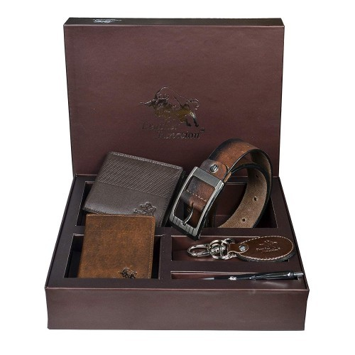 Leather Junction Men's Leather Wallet, Belt, Card Holder, Key Ring and Pen in a Box (Brown)