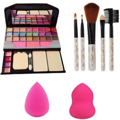 Aaxyone 6155 Makeup kit + 5 pcs Makeup Brush + 2 pc Blender Puff Combo
