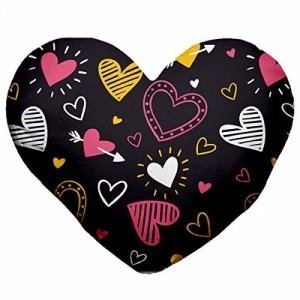 Gift Wrap Hearts Valentine Day Heart Shape Cushion Cover with Filler, Size-16X18 inches