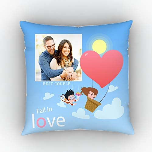 Generic GiftsOnn Poly Satin Fall in Love Quote with Personalized Picture Cushion Cover (12X12 in)(White)