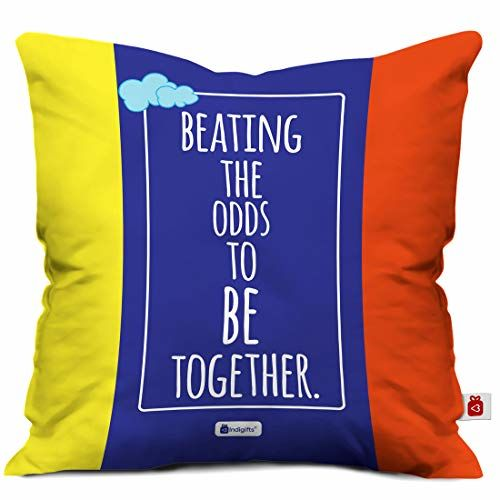Indigifts LGBT Gifts Love Printed Multi Cushion Cover 12x12 inches with Filler - Gifts for LGBTQ, Gifts for Gay Men, Gifts for Lesbian, LGBTQ Gifts