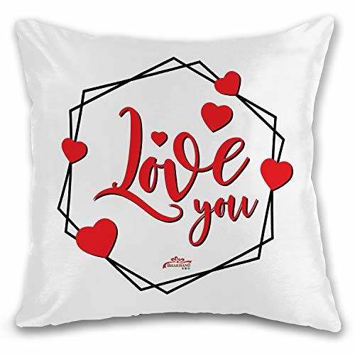 Bhakhand Art & Gifts Bhakhand Love You Quote White Printed Cushion Cover 12x12 inches with Filler -Boyfriend-Girlfriend, Husband-Wife Birthday Gift, V Day Gift