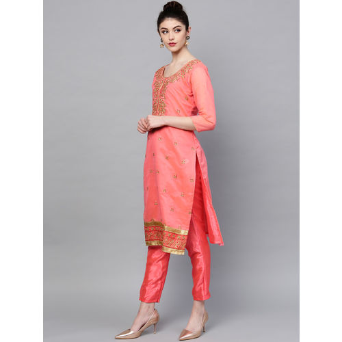 Ishin Pink Embroidered Unstitched Dress Material