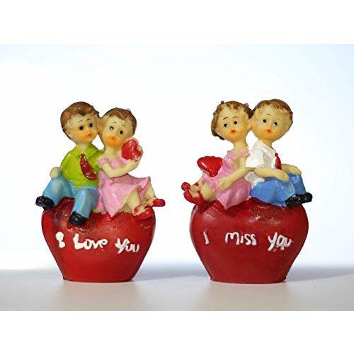 Lilone Romantic Couple Valentine Gifts Copule Statue Showpiece Set of 4 Home Dcor Birthday Gift