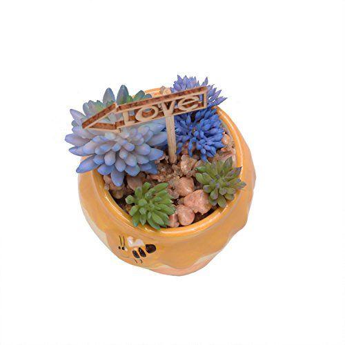 Scrafts Blue Small Bush Love Bear Ceramic Base Artificial/Dry/Faux Flowers Arrangement for Home Dcor/Living Room Dcor/Table Dcor/Office Dcor/Wedding Dcor/Party