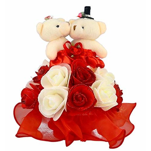 WebelKart by JaipurCrafts Cute Romantic Valentine Love Teddy Statue Showpiece Revolving with Music-20 cms