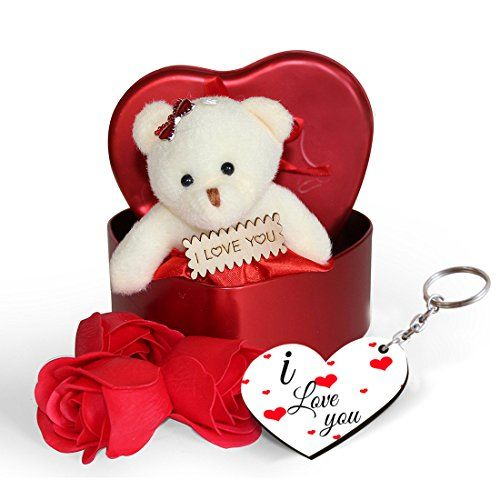 Sky Trends Fabric Heart-Shaped Box with Teddy and Roses and Wooden Keychain with Greeting Card(Red)