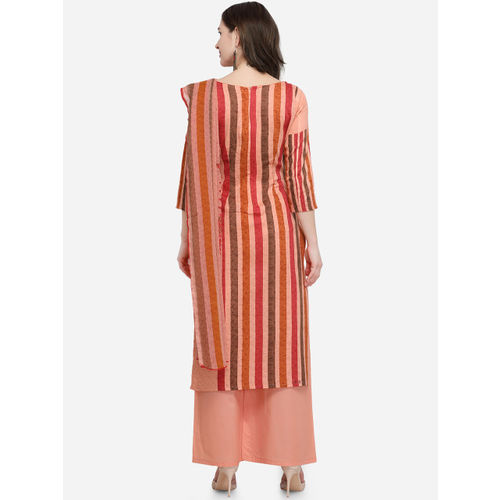 mf Women Peach-Coloured Printed Satin Unstitched Dress Material