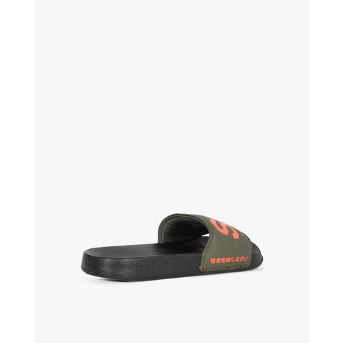 b2ae1a03d0a Buy Superdry Men Black   Olive Green Printed Sliders online ...