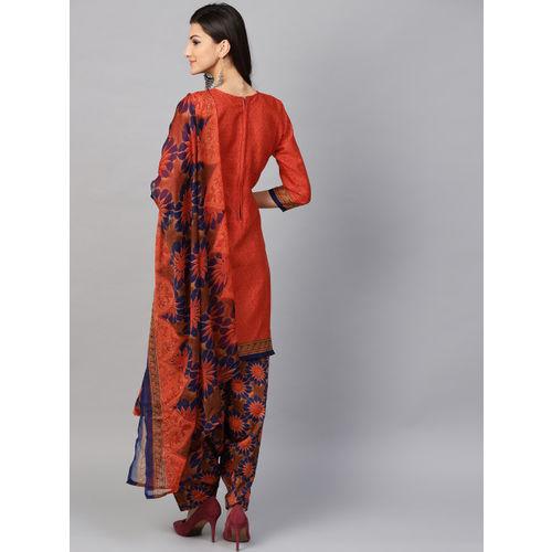 Saree mall Orange & Navy Blue Unstitched Dress Material