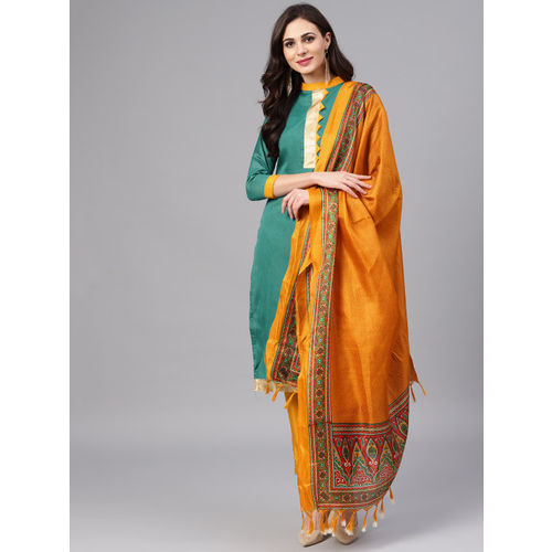 6a54aab5ee Buy Saree mall Green   Mustard Yellow Unstitched Dress Material ...