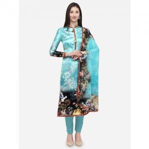 0d3139cb0d Buy Saree mall Beige & Red Chanderi Printed Unstitched Dress ...