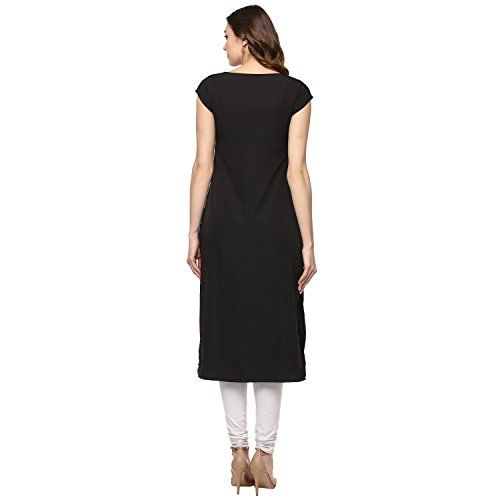 IVES Black Printed Polyester Crepe Straight Kurti for Women