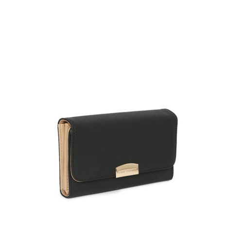 Lino Perros Women Black Solid Three Fold Wallet