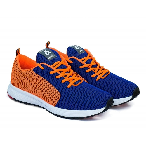 Avant Blue and Orange Mesh Lace-up Running Shoes