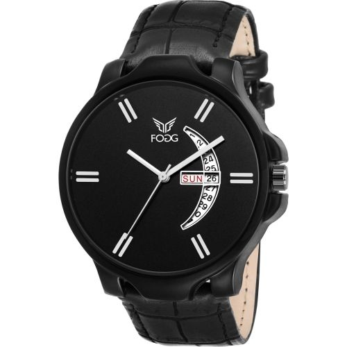 Fogg 1165-BK Black Day and Date Watch - For Men