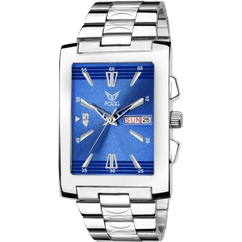 Fogg 2078-BL Blue Square Day and Date Watch - For Men