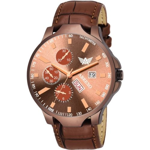 Abrexo bx8050-BR BROWN Day & Date Functioning Watch - For Men
