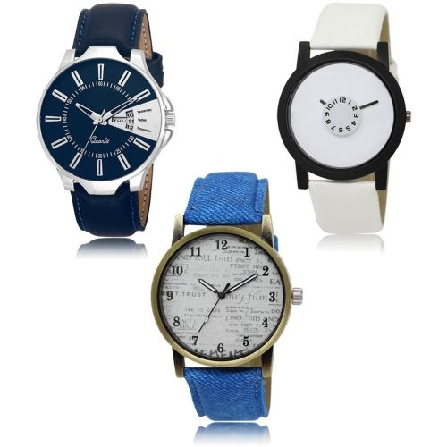 Style Keepers LR-23-26-28 Hot Selling Premium Quality Collection Latest Set of 3 Stylish Attractive Professional Designer Combo Watch - For Men