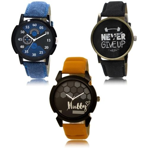 Style Keepers LR-02-27-32 Hot Selling Premium Quality Collection Latest Set of 3 Stylish Attractive Professional Designer Combo Watch - For Men