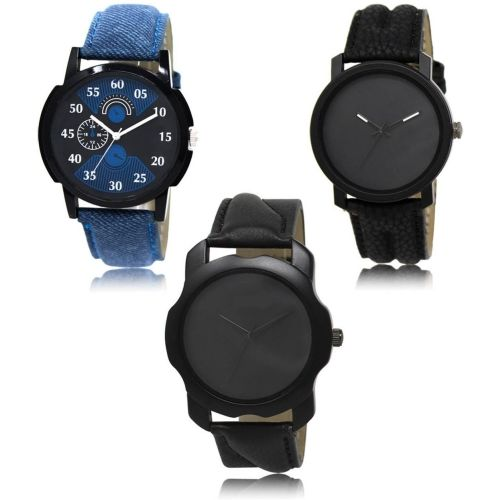 Style Keepers LR-02-21-22 Hot Selling Premium Quality Collection Latest Set of 3 Stylish Attractive Professional Designer Combo Watch - For Men