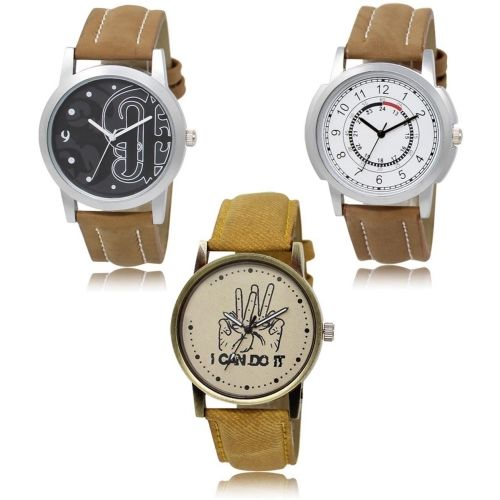 Style Keepers LR-14-17-30 Hot Selling Premium Quality Collection Latest Set of 3 Stylish Attractive Professional Designer Combo Watch - For Men