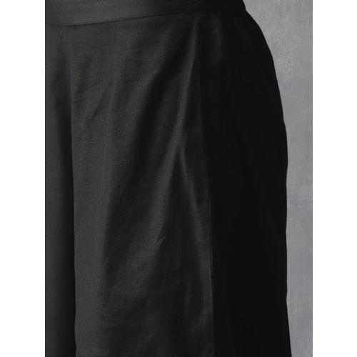 Anouk Women Black Printed Kurta with Palazzos & Dupatta