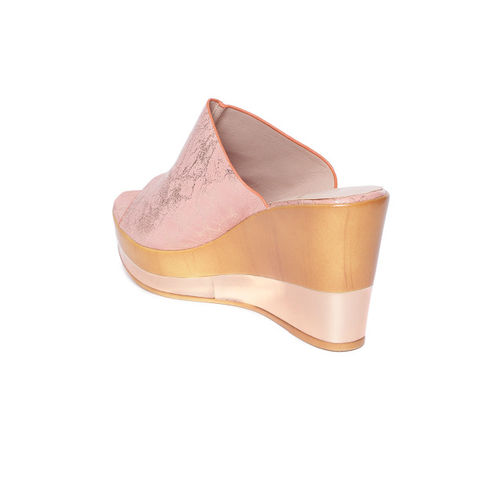 Carlton London Women Dusty Pink & Gold-Toned Printed Wedges