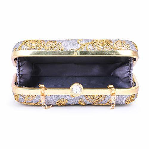 AARAV Grey Handcrafted Box Wedding clutch