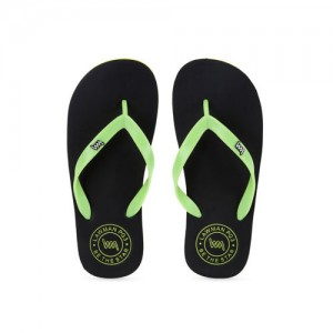 72012ffb453c LAWMAN PG3 Men s Black and Green Fur Flip-Flops and House Slippers ...