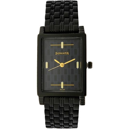 Sonata Black Square Analog Watch