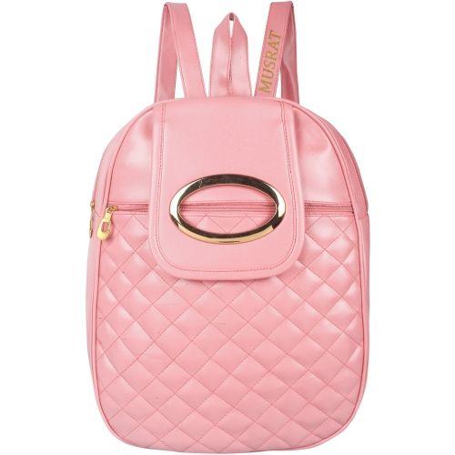 MUSRAT Pink PU Leather Backpack