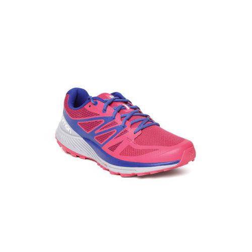 new styles 8e295 a93bb ... Salomon Women Pink   Blue Sense Escape Running Shoes ...