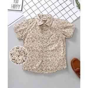 Babyhug Cream Half Sleeves Shirt Floral Print