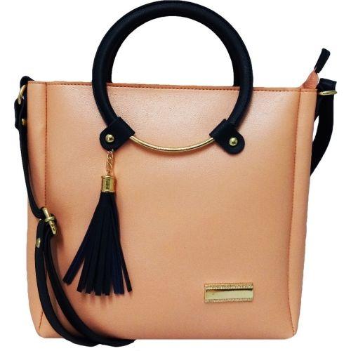Bandicoot Peach Polyurethane Solid Sling Bag