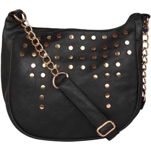Sparklings Women Evening/Party Black PU Sling Bag