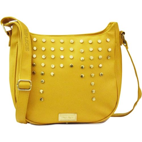 SPLICE Women Casual Yellow PU Sling Bag