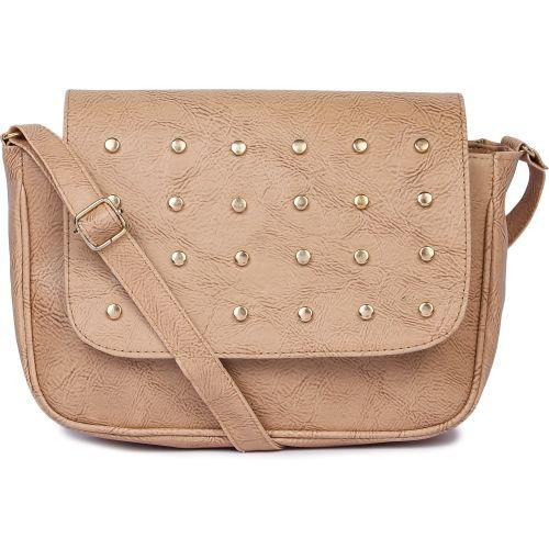 Pink Flower Women Casual Beige Brocade, PU Sling Bag