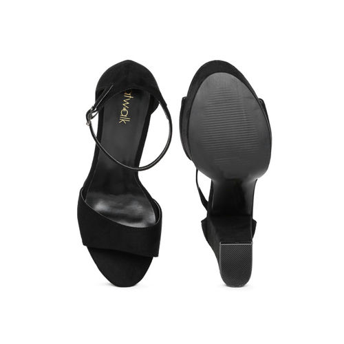 Catwalk Black Polyurethane Solid Sandals