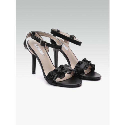 Elle Women Black Solid Stilettos with Bow Detail