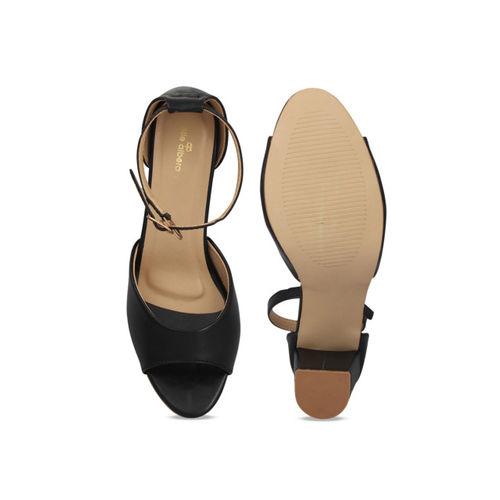pelle albero Womens Black Block Heel Sandal