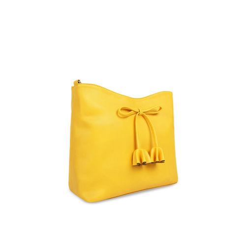 Toteteca Yellow Polyurethane Solid Sling Bag