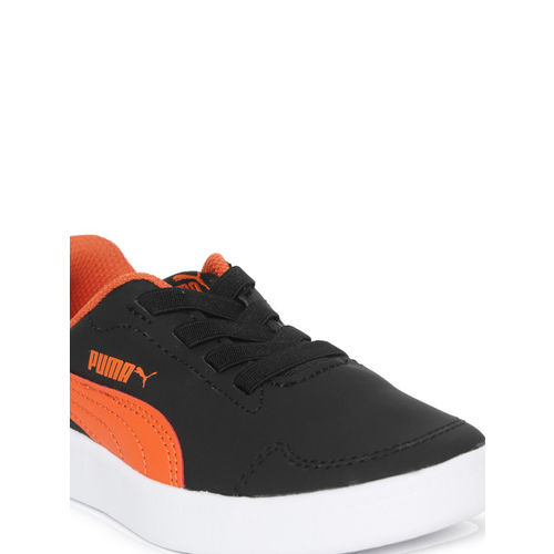 Puma Kids Black & Orange Colourblocked Courtflex PS Sneakers