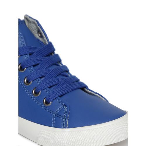 United Colors of Benetton Kids Blue Solid Mid-Top Sneakers