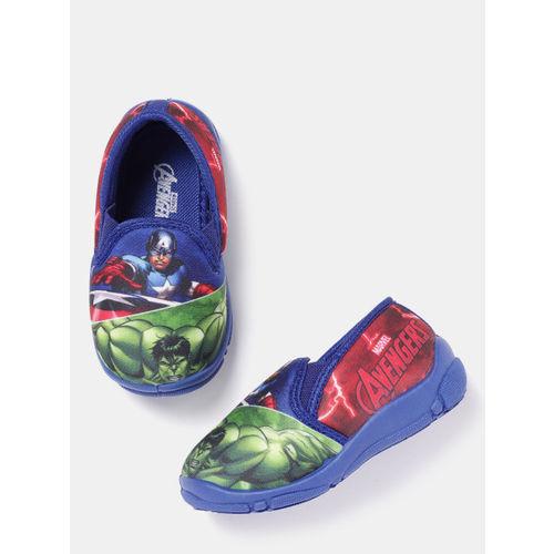 YK Marvel Boys Blue & Green Avengers Print Slip-Ons