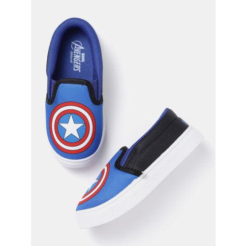 YK Marvel Boys Blue Captain America Shield Print Slip-On Sneakers
