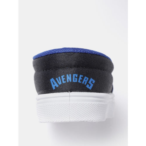 YK Marvel Boys Blue Captain America Shield Print Slip-On Sneakers