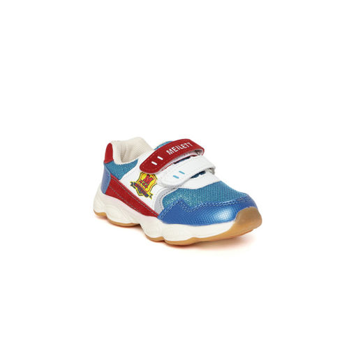 Walktrendy Kids Blue & Red Colourblocked Sneakers