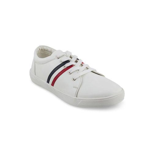 Mochi Boys White Striped Sneakers