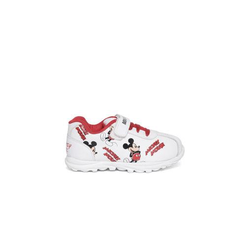 Disney Boys White & Red Printed Sneakers